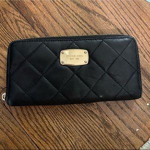 Michael Kors Black Quilted Large Zip Around Wallet